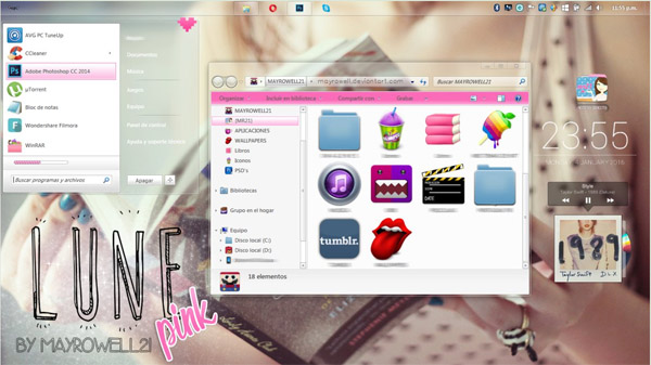free Lune Pink theme for Windows 7 trial download