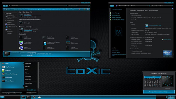 Toxic Blue Windows 7 desktop themes
