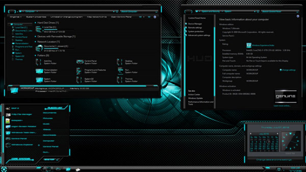 HUD Evolution Aqua for Windows 7 desktop theme