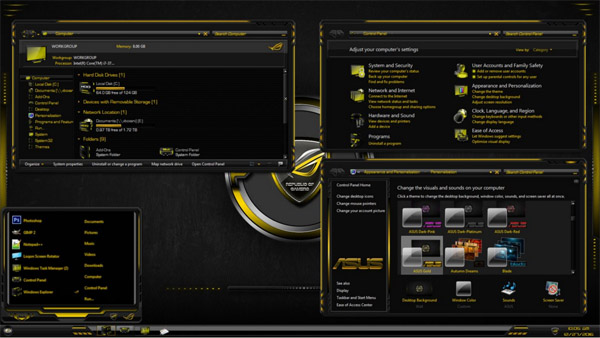ASUS Gold for Windows 7 theme free download