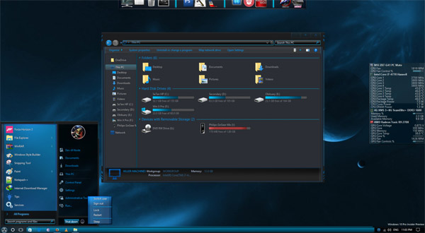 caustic blue x for windows 10 theme free download