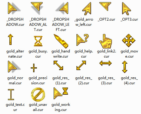 free Gold mouse pointers download