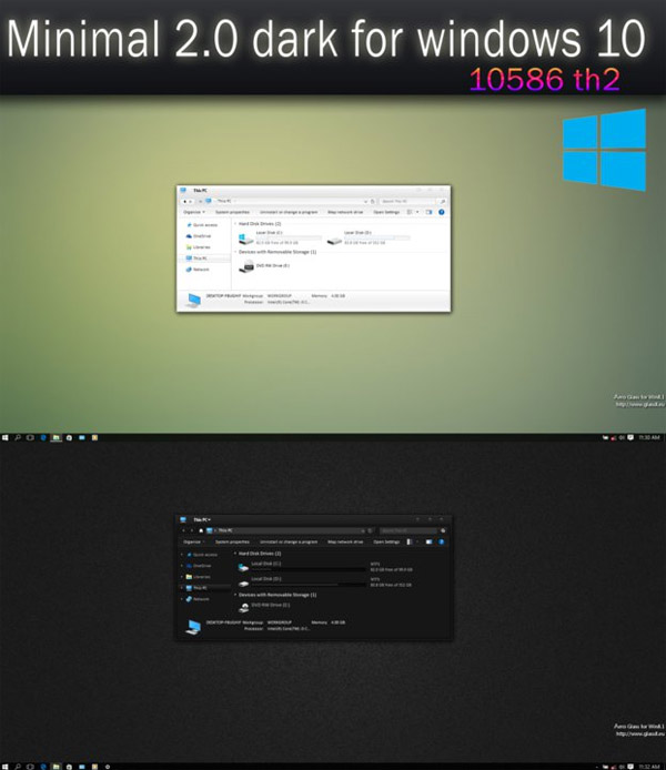 Minimal 2.0 dark for windows 10 desktop themes