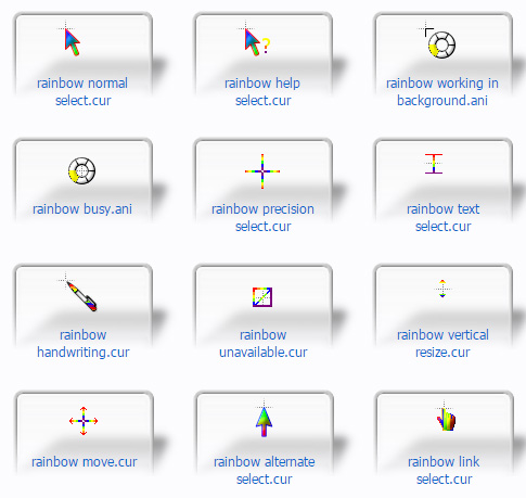 rainbow colours Mouse Cursors