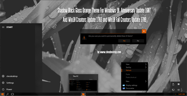 Shadow Black Glass Orange Theme Win10 Fall Creators