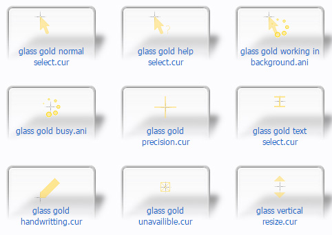 glass gold Cursors