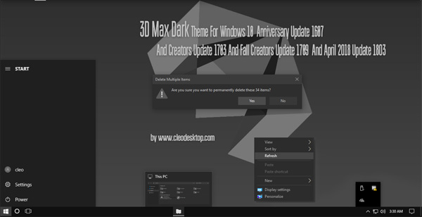 3D Max Theme Win10 April 2018 Update