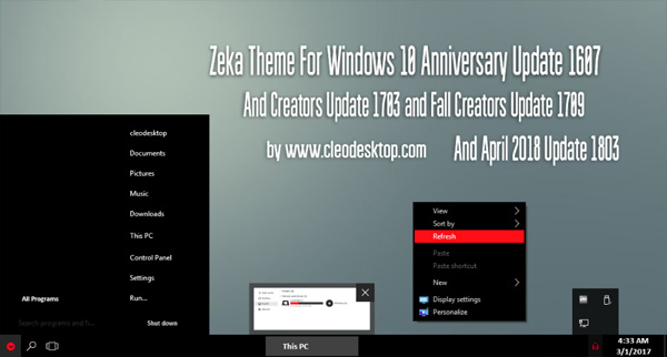 Zeka Minimal Theme Win10 April 2018 Update