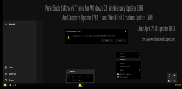 Pure Black Yellow V2 Theme Win10 April 2018 Update