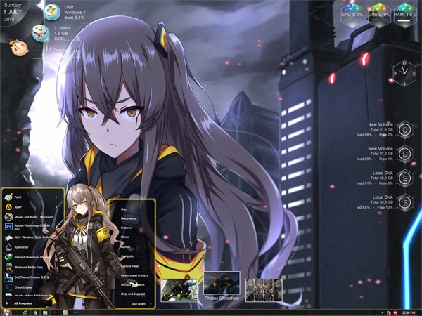 404 Squad Girls Frontline Windows 7 Theme free download