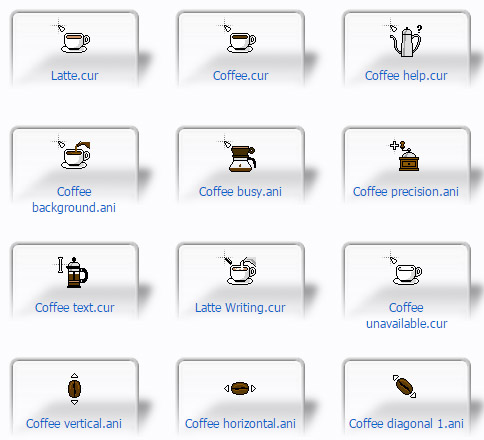 White Coffee Cup mouse cursors for windows