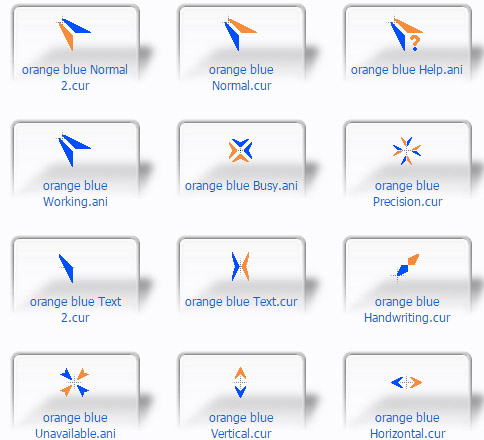 free Orange Blue for windows 8 cursors