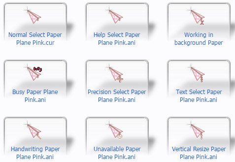Pink Paper Plane Airplane Cursors